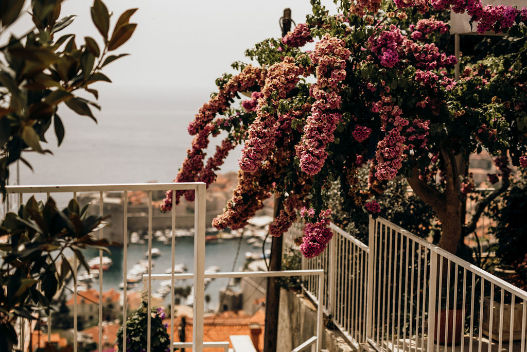 This is a photo from a Dubrovnik old town wedding. You can see the view of the old harbour. There's a purple bougenvilla plant on the right side.