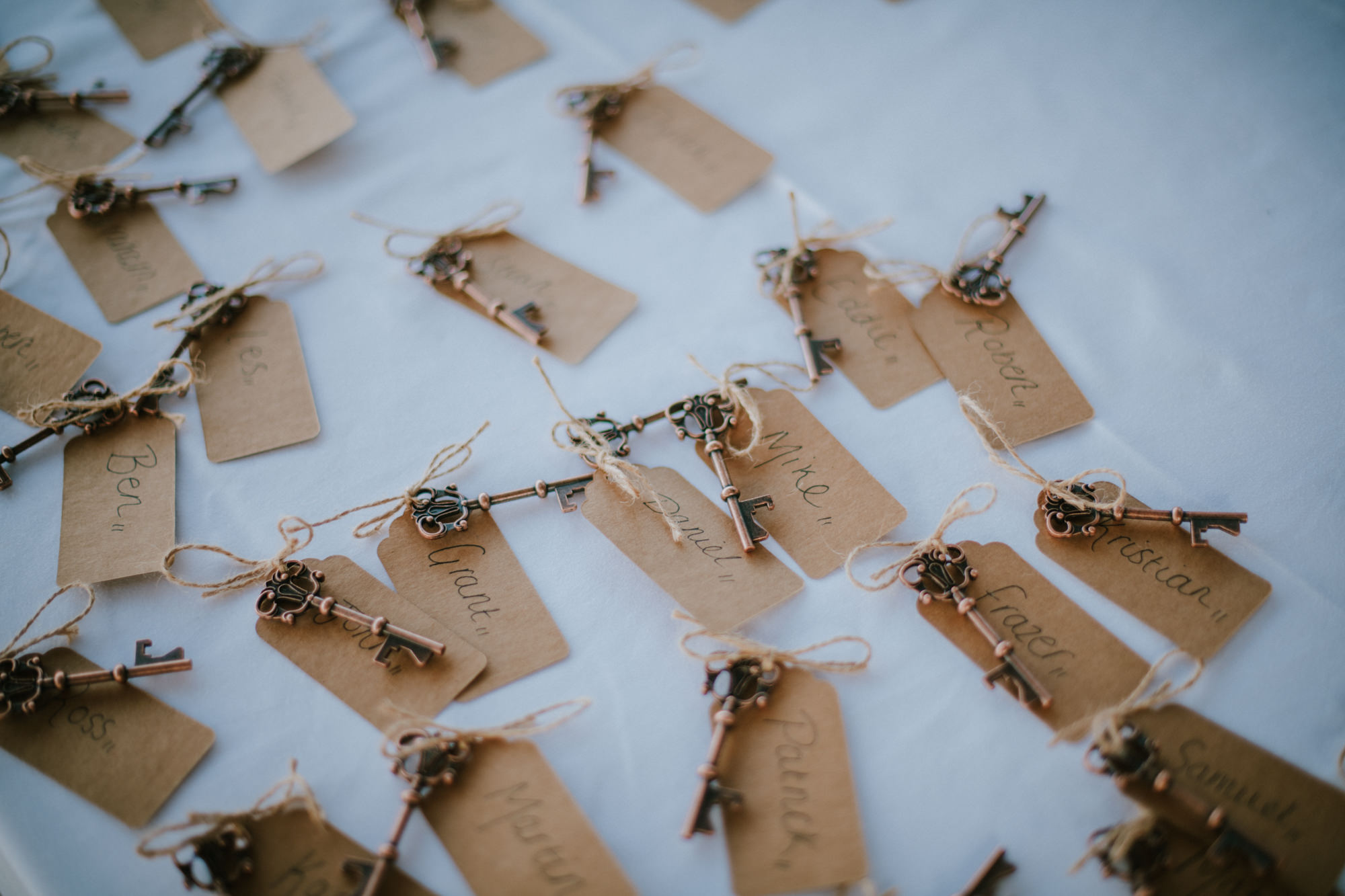 Here are the wedding favours for the wedding guests on this Dubrovnik wedding. They are lovely little keys with guest name tags on them.