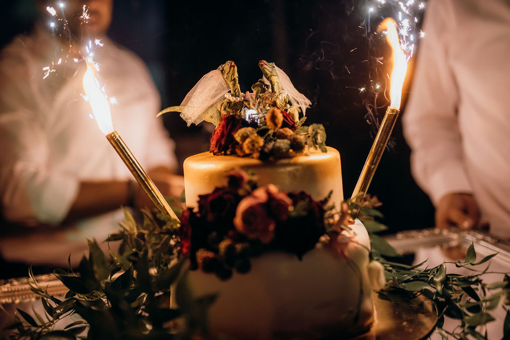 Dubrovnik bridezilla wedding cake. The photo is a close up of the amazing cake. There are two dinosaur looking brides on top - so bridezillas. And sparklers on the side.