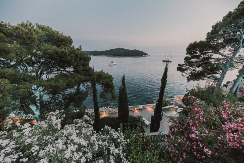 This is the view from Villa Sheherezade in Dubrovnik. Above the tops of all the trees is peeking out the sea and Lokrum island.